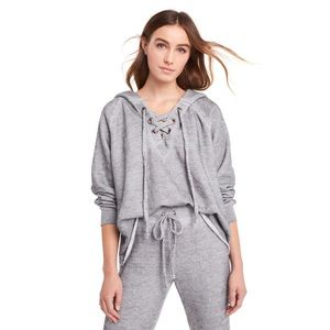 Wildfox Hutton Sweater Grey Burnout Lace Up Hoodie